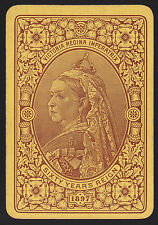 1 Single ANTIQUE Playing/Swap Card OLD WIDE ROYALTY QUEEN VICTORIA 60 YEAR REIGN