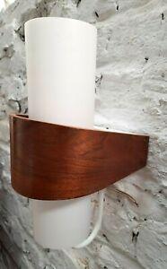 LOUIS KALFF TEAK + OPALINE GLASS NX40 WALL LAMP LAMPE LEUCHT PHILIPS 1950s MCM