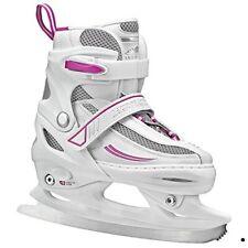 Lake Placid Summit Girls Adjustable Ice Skate, White/Purple, Small Junior/10 -13