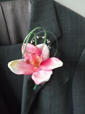 6 Pink Orchid Corsage Buttonholes with Pearl Loops Wedding Flowers Artificial