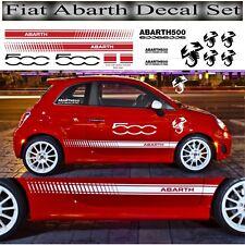 Fiat 500 Abarth Bandes Latérales Logo Set Kit Taille correcte & Shape Qualité Vinyle