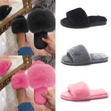 Damen Kunstpelz Hausschuhe Plüsch Sandalen Sommer Slippers Pantoffeln Schlappen