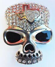 Silver Rhinestones Belt Buckle Big New Skull Texas Map