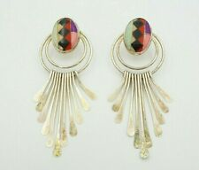 Vintage Southwestern Sterling Silver Mosaic Stone Inlay Circle Post Earrings