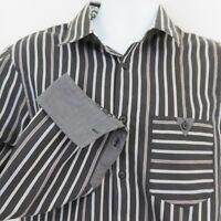 English Laundry Black Gray Stripe Mens L Shirt Blaque Label Christopher Wicks
