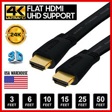 Flat HDMI Cable High Speed HDMI Cord Gold Plated 3D Supports, 4K HDTV Lot