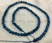 "NATURAL 4MM blue ink roundel faceted gemstone kyanite loose beads 15 ""AAA"