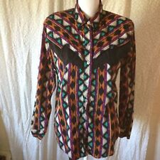 Rodeo Western Wear Women's Large Western Shirt VINTAGE Shoulder Pads Long Sl