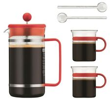 NEW Bodum Bistro 8 Cup Coffee Maker 2 Glass Mugs & 2 Spoons Set - (Orange)