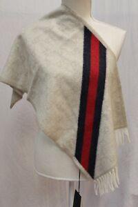 NWT GUCCI Alpaca Wool Blend GG Monogram Scarf Fringe Sand Web Stripe New Nikky