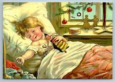 LITTLE BABY in Bed with DOLL TOY Christmas by Jenny Nyström New Postcard