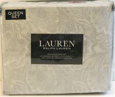 Ralph Lauren 4 PC Cotton Sheet Set Outline Paisley Grey Queen - NEW