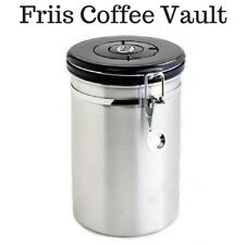 FREE 7 Friis Valves With  Coffee Storage Canister Vault Silver Stainless Steel