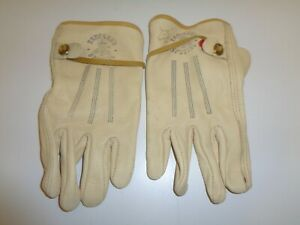 Vintage Leather Gloves Truckers Special Metal Tab Medium