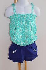 Gymboree Sparkle Safari Girl's Size 6 NWT Tops Shirt Blue Green Shorts NEW