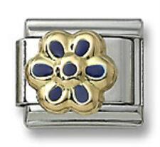 Daisy Flower Italian Charm Blue Enamel 9 mm Stainless Steel Bracelet Link 18K