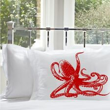Two for 20 Red Octopus nautical room decor pillowcase pillow cover case