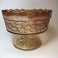 Cute Vintage Marigold Carnival Glass Pedestal Footed Trinket Bowl Candy Dish