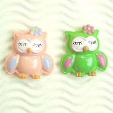 "US SELLER - 10 pcs x (1 1/8"") Resin OWL Flatback Embellishments w/Flower SB631"