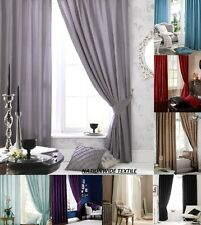 Catherine Lansfield Home Faux Silk Eyelet Curtains+Tie Backs