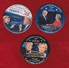 SET OF THREE TRUMP VERSUS  CLINTON DEBATE    2016 PINS