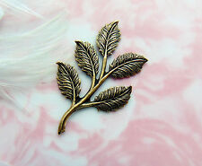 ANTIQUE BRASS (4 Pieces) Leaf Spray Leaves Stamping ~ Oxidized Finding (D-176)