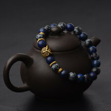 Fashion 8MM Charm Gold Owl Mens Spot Natural Lava Stone Beaded Bracelet