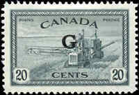 Stamp Canada Mint VF Scott #O23 20c Overprinted G Peace Issue Hinged
