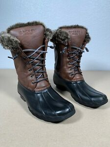 Girls Sperry Duck Boots Size 5 Euro 37 Fur Insulated Waterproof Free Same Day Sh