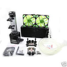 Water Cooling Kit 240mm Radiator 190mm Reservoir Pump CPU GPU Blocks Green LED