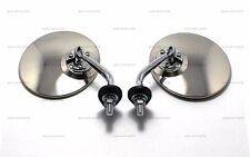 """PAIR OF 4.25"""" ROUND CHROME LUCAS STYLE WING/DOOR MIRROR STAINLESS CLASSIC VINTAG"""