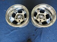 RARE VINTAGE PAIR POLISHED 15X11 REAL SHELBY MAGS 5 ON 5 1/2 FORD PICKUP,RATROD