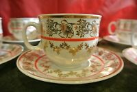 """""""EPIAG"""" Made in Czechoslovakia Set of 6 Cups & Saucers Red & White w/Gold Trim"""