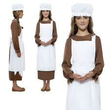 Victorian Apron & Mop Cap Costume Orphan Peasant Book Day Fancy Dress Girls