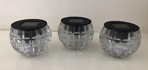 3X Small Glass Solar LED Light Jars Garden Patio Light Home Decor Glass Jar