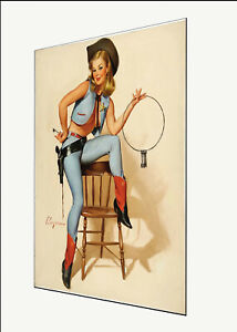 Vintage pin up model print Gil Elvgren art poster canvas painting cowgirl