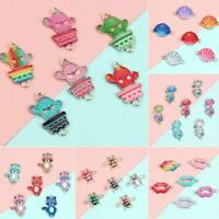 10X Colorful Alloy Cat Beads Connector Charm Fit DIY Jewelry Making Findings Set