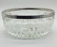 Vintage Leonard Silverplate Italy Glass and Silverplate Rimmed Serving Bowl