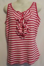 RALPH LAUREN ~ Candy Pink & White Striped Ribbed Cotton Tank Singlet XL 16