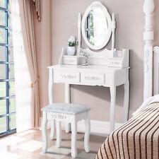 White Vanity Makeup Dressing Table Set with Stool 4 Drawer & Mirror Wood Desk