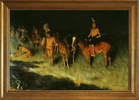 Classic Framed Frederic Remington The Grass Fire Giclee Canvas Print