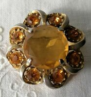 Vintage Citrine Glass 50s 60s Faceted Flower Gold Tone Amber Yellow Old Brooch