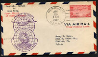 USA HONOLULU to HONG KONG by PAA FIRST FLIGHT 1937 cover Sc C22 - VF