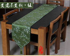 New Asian Chinese Green Silk Brocade Table Runner Cherry Blossom with Tassel