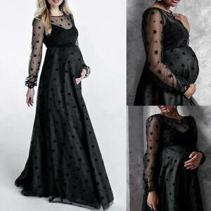 Schwangere Maxikleid Mesh Umstandskleid Schwangerschaftskleid Fotoshooting Kleid