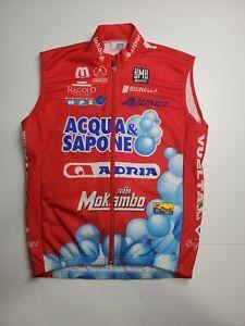 VTG Santini Acqua & Sapone Sleeveless Red Cycling Jersey Men's Size Med Full Zip