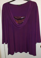 WOMENS TOP 3X/4X DEEP PLUM EMBELLISHED STRETCH TUNIC NEW
