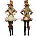 Mad Hatter Alice in Wonderland Costume Women Fancy Dress Outfit Plus Size 6-20