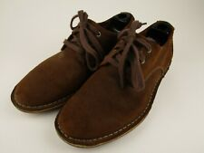 Mens Clarks 8.5 M Brown Sueded Leather Casual Derby Shoes