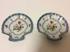 Superbe paire coupelles à coquille Saint-Jacques porcelaine peinte main XIXe XXe
